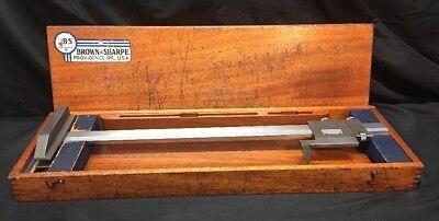 Brown Sharpe 586 Vernier 20 Gage Height Caliper In Mahogany Case N-98951-b