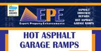 Hot asphalt garage ramps and driveway repairs.