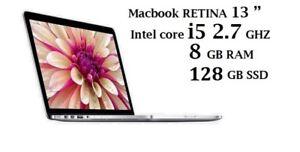 MACBOOK PRO RETINA 13 i5 2.7ghz,8GB,128GB,Office 2016,Logic Pro