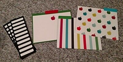 C R Gibson Decorative File Folders 9 Ct Pack Stripes Apples Cocf-15793 New