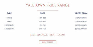 Brand New Building for Rent in YALETOWN! Studios, 1 and 2 Bedroo