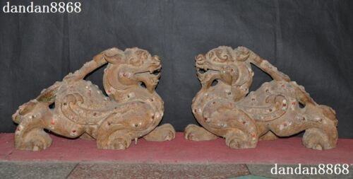 Old Jade Stone Mosaic Shell Turquoise Ruby Hand Fengshui Pixiu Beast Statue Pair