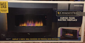 Classic Flame, curved panel electric fireplace