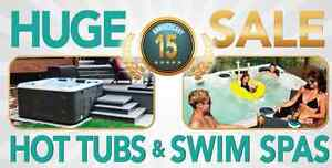 Huge 15 years anniversary sale on all hot tubs and swim spas