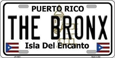 THE BRONX PUERTO RICO NOVELTY STATE BACKGROUND METAL LICENSE (State Metal License Plate)