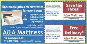 NEW DOUBLE MATTRESSES from $140 +Full BOXPRINGS $80. No Tax Sale London Ontario image 3