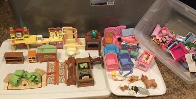 Preowned Fisher Price Mattel Loving Family Huge Lot Furniture Accessories Nice!