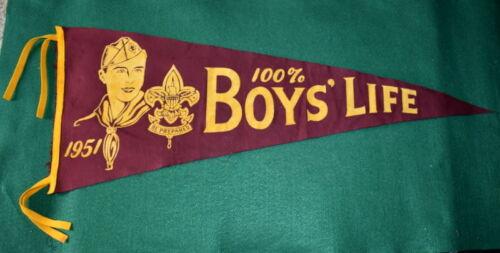 VINTAGE BOY SCOUT FELT PENNANT - 1950 - 100% BOYS