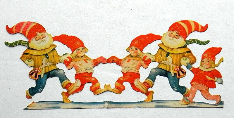 CHRISTMAS ELVES Dancing Children Antique Diecut Paper Ornament circa 1900-1920