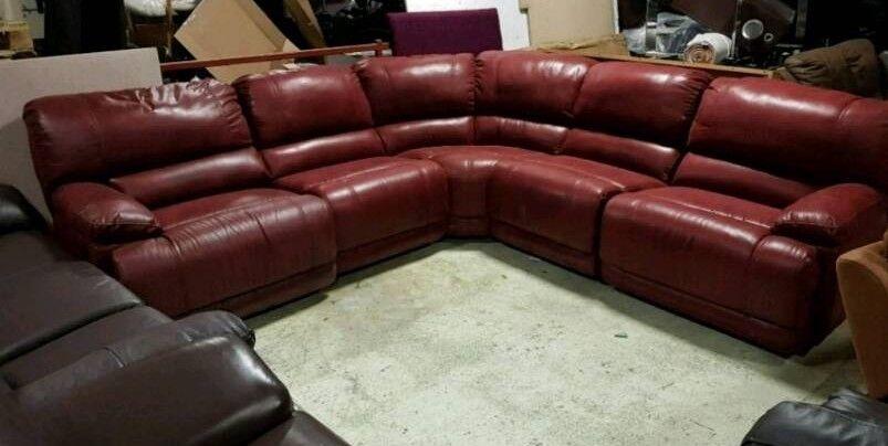 Red suede corner sofa recliner