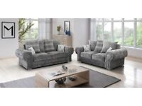 Matero Grey Fabric 3+2 Seater Sofa Suite Couch BRAND NEW