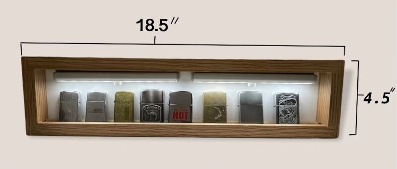 Zippo Cigarette Lighter Display Shelf Wall Mounted - Lights Up With Remote
