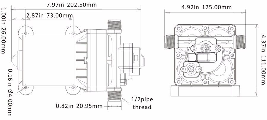 12V Seaflo 3 0 GPM Water Pump RV Boat Variable Flow Bypass