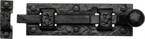 M Marcus Black Iron Tudor black Flat knob door bolt 4 inch TC168-4