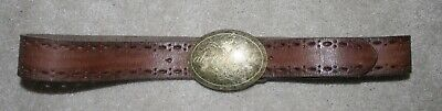 Women's Vintage Abercrombie Adjustable Brown Leather Belt With Brass Buckle