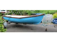12 ft Fiberglass Fishing Dingy with Trailer