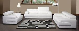 3 pcs. Bonded Leather Match Living Room Set with Adjustable Head Rests
