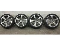 "4x Genuine Refurbished Audi A4, A6 Rotor Black Edition alloy wheels 19"" + tyres"