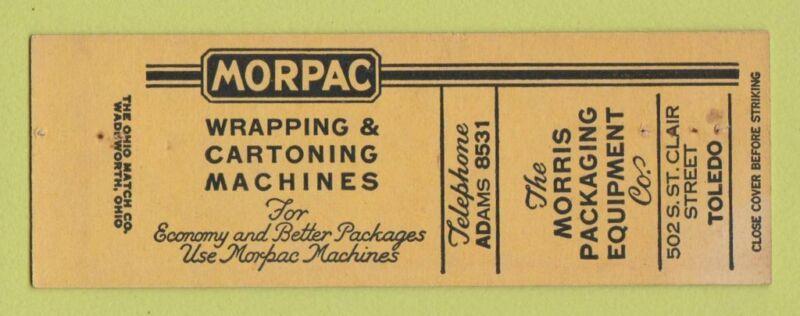 Matchbook Cover - Morris Packaging Equipment Toledo OH SAMPLE STAPLED WEAR