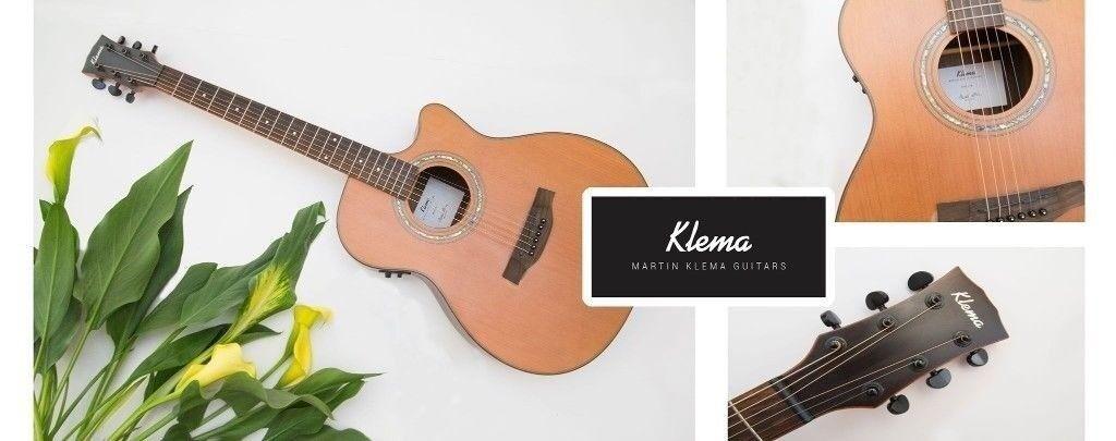 hand made designer australian klema cedar wood acoustic guitar in