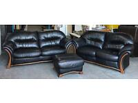 Large 3&2 Seater Very High Quality Thick Black Leather Designer Sofas&Footstool.WE DELIVER