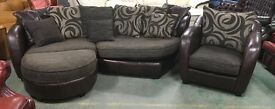 Brown leather / fabric corner sofa set WE DELIVER UK WIDE