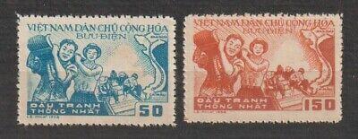 1958 North Vietnam Stamps Building the Reunification Railway Scott # 76-77 M