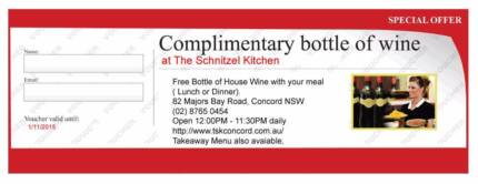 Free bottle of Wine with Menu at The schnitzel kitchen - Concord Concord Canada Bay Area Preview