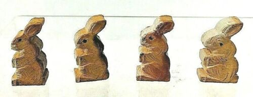 4 Completely Adorable Vintage Wooden Bunnies From Italy .75 Inches Each