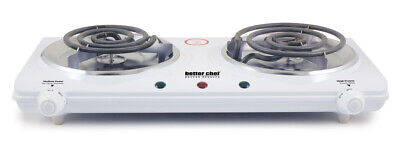 Better Chef Portable Electric Dual 2 Buffet Burner Hot Plate Cook 1500 Watt