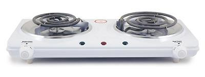 White Electric Stove - Portable Electric Dual 2 Burner Hot Plate Stove Top Cook Warmer Kitchen IM-306DB