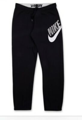 Nike Women Sequin Sweatpants Black Size S Silver Running Pants Woman Trousers