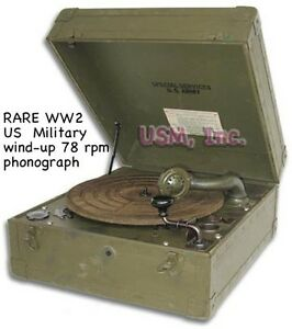 Rare-WW2-US-Military-78-rpm-Wind-Up-Phonograph-and-Case-Original