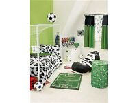 Pine mid sleeper with mattress and NEXT bedroom football playtent,bedding and accessories £40