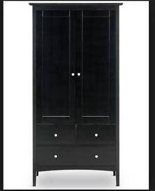 Brand new, unopened, M&S Hastings double wardrobe, black (2 boxes) + 2 bedside tables