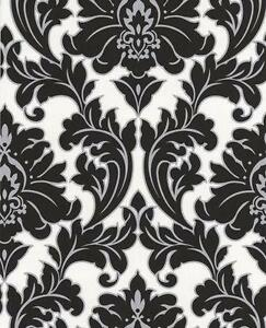 Black And White Damask Wallpaper
