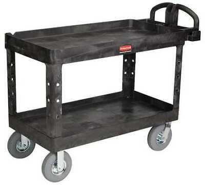 Rubbermaid Fg454610bla Raised Handle Deep Shelf Utility Cart 750 Lb. Capacity