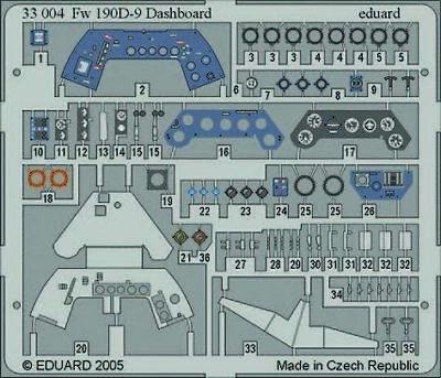 Eduard Accessories 33004 - 1:32 Fw 190D-9 Dashboard Für Hasegawa Bausatz - Ätzsa