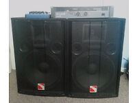 1000w PA system - mixer amp & speakers