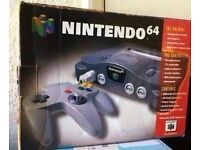 n64 console boxed and 11 games