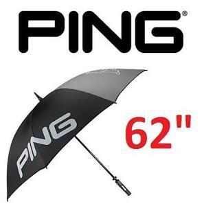 """NEW PING 62"""" SINGLE CANOPY UMBRELLA BLACK/GREY - GOLF UMBRELLA 100273842"""