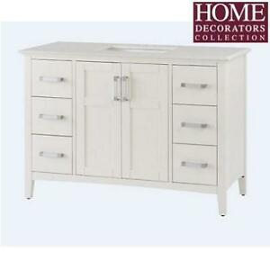 NEW* 49'' BATHROOM VANITY NL-WINSTON-WH-48-2A 211207144 HOME DECORATORS WHITE BAYWIND WHITE
