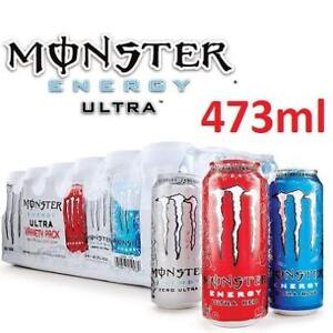 NEW 24PK MONSTER ENERGY DRINK 473ml 218674118 ULTRA VARIETY CANS 1 CASE OF 24 ASSORTED FLAVOURS ULTRA RED BLUE ZERO
