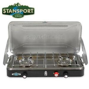 NEW STAN SPORT PROPANE STOVE OUTFITTER SERIES 50.000 BTU - TWO BURNER STAINLESS STEEL CAMP STOVE 104351802