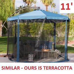 NEW 11' OFFSET PATIO UMBRELLA 125184169  MOSQUITO NET TERRACOTTA