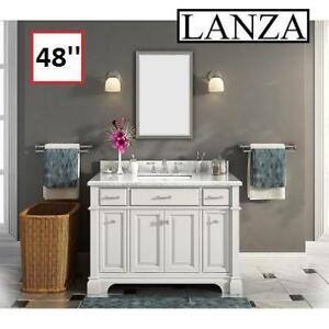 NEW* LANZA 48'' BATHROOM VANITY 160515113 NOVA MARBLE TOP SINGLE SINK BACKSPLASH
