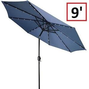 NEW TI 9' SOLAR BLUE PATIO UMBRELLA - 125166575 - TRADEMARK INNOVATIONS LED LIGHTED