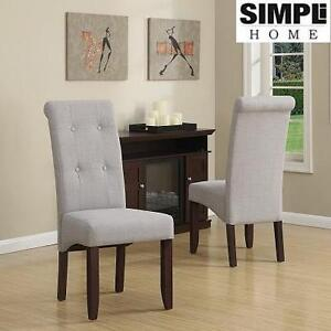 2 NEW SH DELUXE TUFTED GREY CHAIRS SIMPLI HOME - PARSON CHAIR - DOVE GREY 101070401