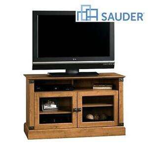NEW* SAUDER AMBER PINE TV STAND REGISTRY ROW PANEL TV STAND - FITS MOST TVs UP TO 42 INCHES 102824856