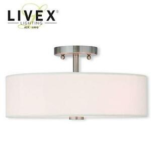 NEW LIVEX 3-LIGHT FLUSH MOUNT - 112991161 - BRUSHED NICKEL FINISH
